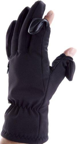 Unisex Ski- und Fotografie Handschuhe. Zurückklappbare und magnetverschliessbare Fingerenden mit Reissverschlusstasche für Memory Cards (Extra groß EU 11)