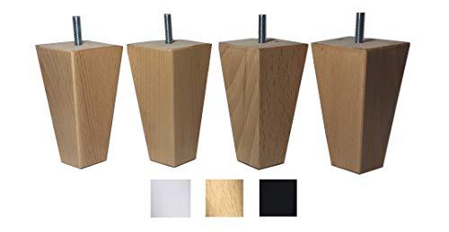 4 patas de madera maciza de haya 12 cm alta para muebles pies para renovar o elevar muebles sofás sillones butacas armarios somieres. Natural y negro (natural)