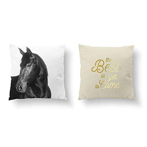 73Elley - Juego de 2 fundas de almohada con diseño de caballo negro