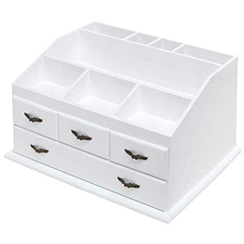 Shabby Chic White Wood 8 Trays 4 Storage Drawers Jewelry/Makeup/Cosmetics Organizer Display Rack