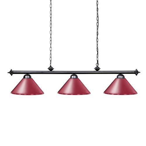 Wellmet Pool tafellampen voor 213-274 cm tafel met 3 metalen schermen, biljartlamp voor mannen cave, speelkamer, keukeneiland, licht voor restaurant of eetkamer