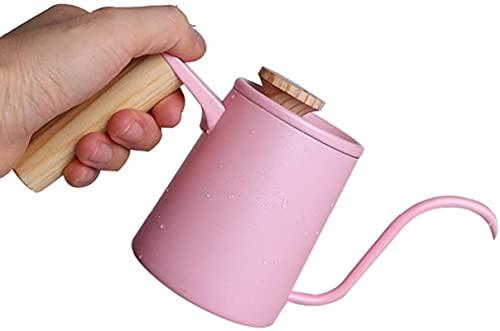 ywewsq Hervidor Cafetera de Goteo de Acero Inoxidable con Cuello de Cisne Largo Hervidor de Agua Cafetera de Mano con Boca Larga, Flujo de Agua Rosa de 90 Grados, Termómetro enchufable (Color: Pink