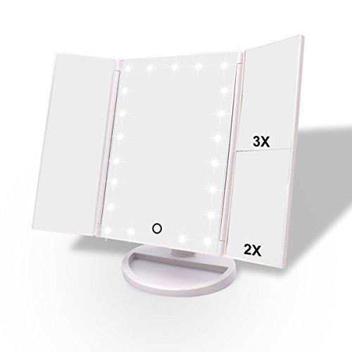WEILY Espejo de Maquillaje de vanidad, 1x / 2X / 3X Espejo de Maquillaje de Tres Pliegues con 21 Luces LED y Pantalla táctil Ajustable Espejo Iluminado Tocador Espejos cosméticos de encimera (Blanca)