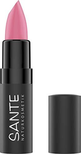SANTE Naturkosmetik Matte Lipstick 02 Gentle Rose, Lippenstift, Matt-Effekt, Mit Bio-Kakaobutter, Intensive Farbpigmentierung, 4,5g