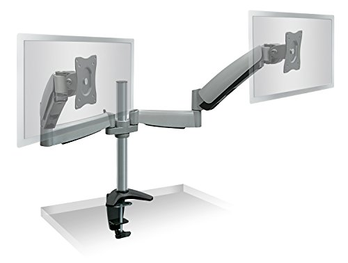 Mount-It! Dual Arm Monitor Mount   Dual Monitor Arm Stand   Two Full Motion Articulating Adjustable Gas Spring   Fits 22 23 24 27 Inch VESA Compatible Computer Screens   C-Clamp Desk Mount