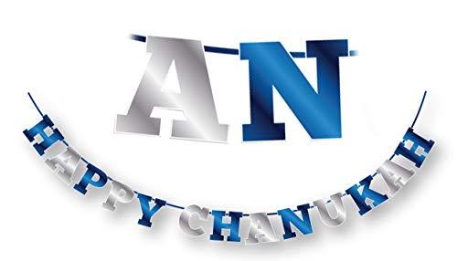 Happy Hanukkah Banner - Chanukah Banner - Blue and Silver Happy Chanukah Letters Banner