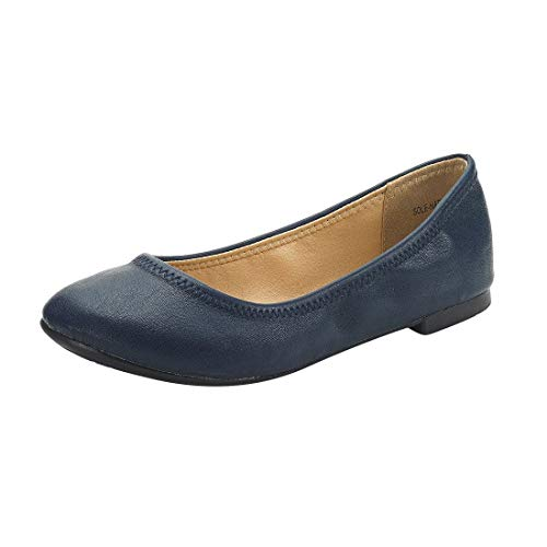 DREAM PAIRS Women's Sole-Happy Navy Ballerina Walking Flats Shoes - 8.5 M US