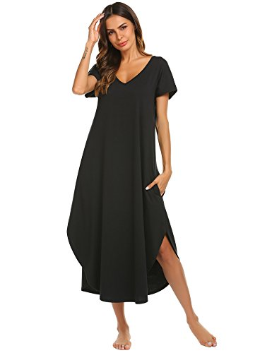 Ekouaer Sleepwear Womens V Neck Nightshirt Casual Loungewear Short Sleeve Long Nightgown,Black,Large
