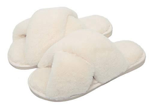 INMINPIN Pantofole con Pelliccia Donna Morbido Comode Pantofole da Casa Caldo Peluche Inverno Ciabatte con Punta Aperta,A-Beige,35-36 EU(CN 36-37