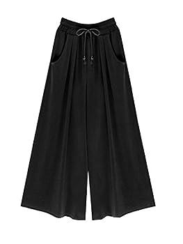 Mopatiper Women s Elastic Waist Wide Leg - Solid Soft - Casual Palazzo Capri Culottes Pants 3XL Black