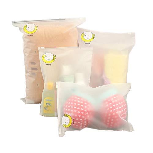 ponny, Set di 5 Sacchetti in plastica Trasparente richiudibili con Zip e dalla Forma Adattabile, Borse per riporre Abiti per Il Viaggio o da Usare Come Piccoli contenitori per la Carta, plastica(M)