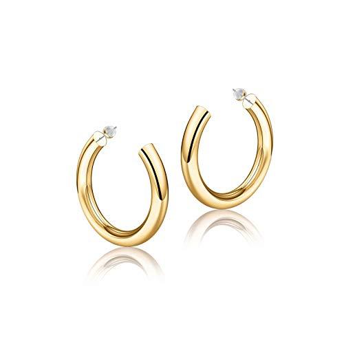 Gold Hoop Earrings for Women, 14K Gold Plated Lightweight Chunky Open Hoops 30mm Gold Hoop Earrings for Women