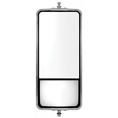 """United Pacific 60027 Stainless Steel 7"""" X 16"""" West Coast Heated Mirror With Convex Mirror"""