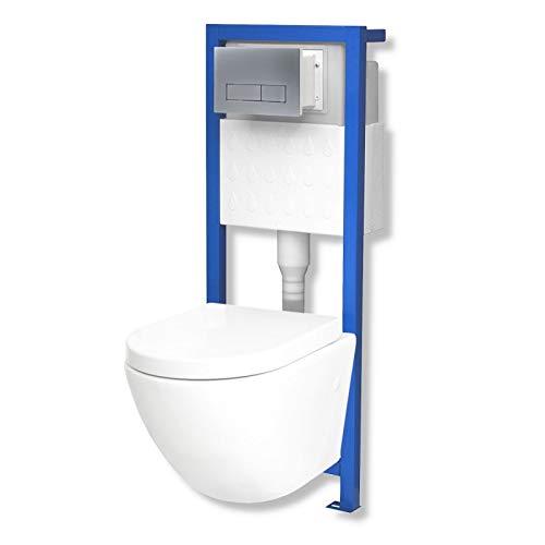 Domino Lavita Vorwandelement inkl. Drückerplatte + Wand-WC Sofi ohne Spülrand + WC-Sitz mit Soft-Close Absenkautomatik Drückerplatte RS (mattverchromt)