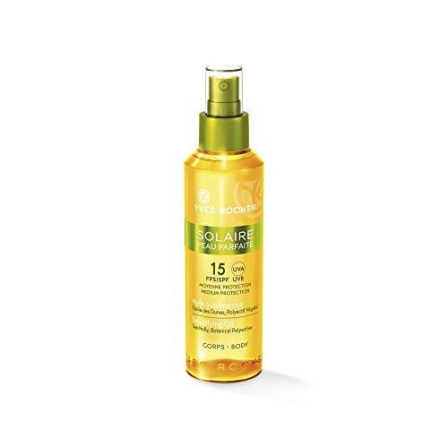 Yves Rocher SOLAIRE PEAU PARFAITE verschönerndes Sonnen-Öl LSF 15, Sonnenschutzspray für den Körper, 1 x Pump-Zerstäuber 150 ml