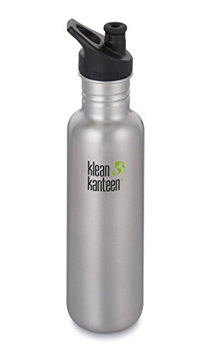 Klean Kanteen Classic Stainless Steel Single Wall Non-Insulated Water Bottle with Sport Cap, 18-Ounce, Brushed Stainless