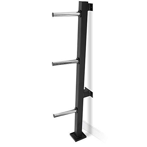 GORILLA SPORTS® Hantelscheibenständer mit 3 Scheibenaufnahmen 30/31 mm Wandmontage – Ablage Schwarz bis 300 kg belastbar