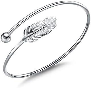 WRISTCHIE Women Bracelet Vintage Style Adjustable Leaf Feather Bangle