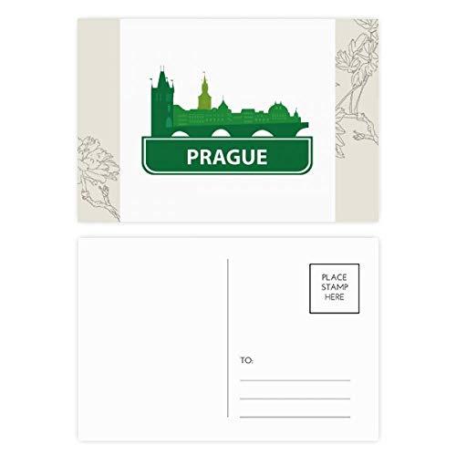 DIYthinker Prag Tschechische Republik Grün Zeichen Blumen-Postkarte Set dankt Karte Mailing Side 20pcs 5.7 Zoll x 3.8 Zoll Mehrfarbig
