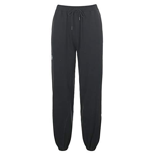 Mialoley Women's Sweatpants Elastic Drawstring High Waist Joggers Workout Trousers (Black, M)