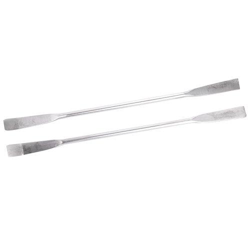 Tiamu 2pcs 125 mm longitud doble cabeza instrumentos de laboratorio espatula de muestreo de acero inoxidable