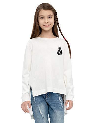 GULLIVER Pullover Mädchen Kinder Pulli Weiss mit Patch Strickpulli 134-164 cm