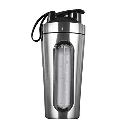 58bh Botellas cocteleras para mezclas de proteínas, 700 ml, botella de agua portátil de acero inoxidable con escala transparente, botella de entrenamiento de boca ancha de alta capacidad