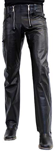RICANO Zimmermanshose, Herren Lederhose aus echtem Büffel Leder in schwarz in Glattleder (Nappa) oder Wildleder (Nubuk) (29 Inch, Glattleder (Nappa))