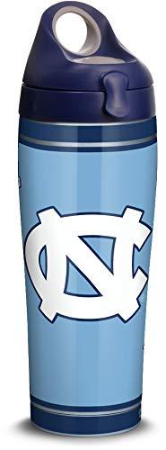 Tervis North Carolina Tar Heels Campus Copo isolado de aço inoxidável com tampa azul marinho com tampa cinza, garrafa de água de 680 g, prata