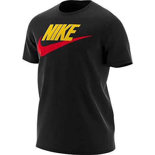 Nike M NSW Tee Icon Futura Maglietta Uomo, Uomo, Maglietta, AR5004, Nero/Giallo/Rosso (University Red), XL