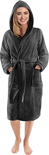 NY Threads Damen Morgenmantel aus Fleece mit Kapuze - Plüsch und Kuscheliger Bademantel für Frauen (Dunkelgrau, Medium)