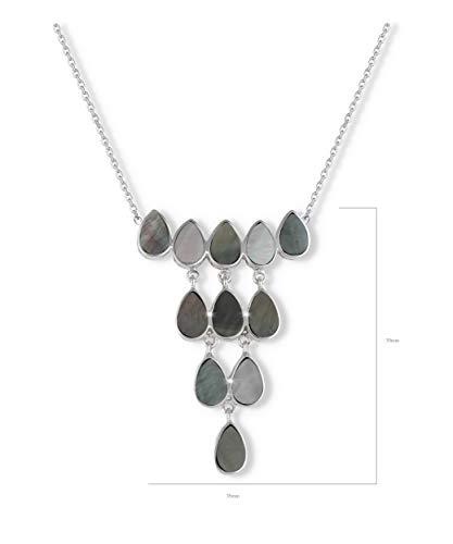 Aden's Jewels halsketting, kandelaar, parelmoer, grijs, effect op ketting, zilverkleurig