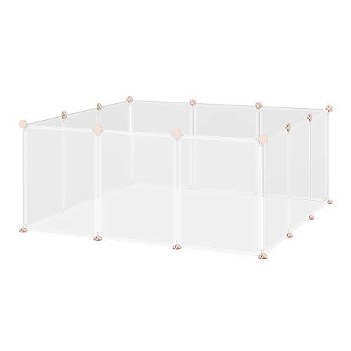 Pawhut Recinto per Conigli, Cuccioli e Piccoli Animali Modulabile in Metallo e PP, 12 Pannelli da 35x45cm Bianco
