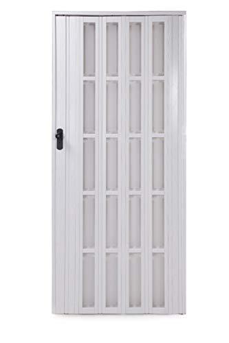 Ondis24 Falttür Ayto, Schiebetür bis 84cm Breite & 205cm Höhe, Sichtfenster Acryl-Glas, Holzstruktur, abschließbar (Weiß)