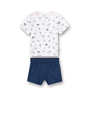 Sanetta Baby-Jungen Pyjama kurz Zweiteiliger Schlafanzug, Weiß (weiß 10), 80 (Herstellergröße:080)