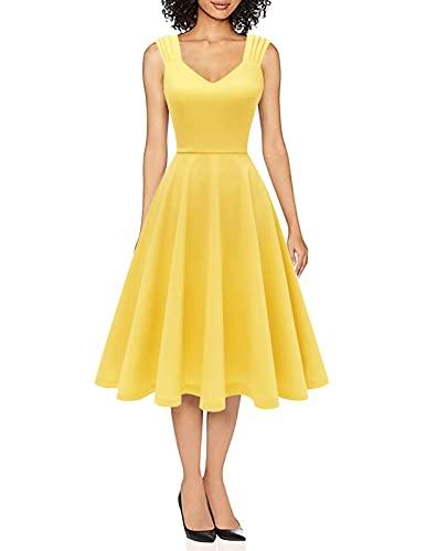 DRESSTELLS Vintage Vestito da Donna Cocktail Abito Sera Rockabilly Swing Scollo a V Senza Maniche Yellow M