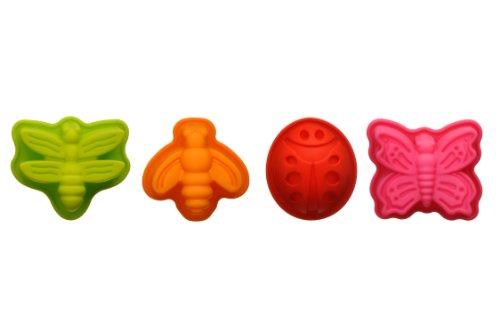 Premier Housewares Mini Kuchen Formen, 4er Set Silikon, Marienkäfer, Schmetterling, Libelle, Biene