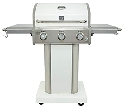 Kenmore PG-4030400LD-PE-AM 3 Burner Outdoor Patio Gas BBQ Propane Grill, Pearl