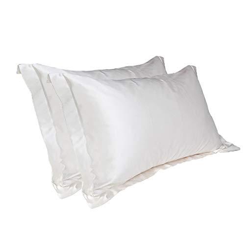 100 % Satinseide-Kissenbezüge, ein Paar (2 Stück) für Haut und Haare, Grau mit schwarzer Unterseite, 54cm x 84cm silber