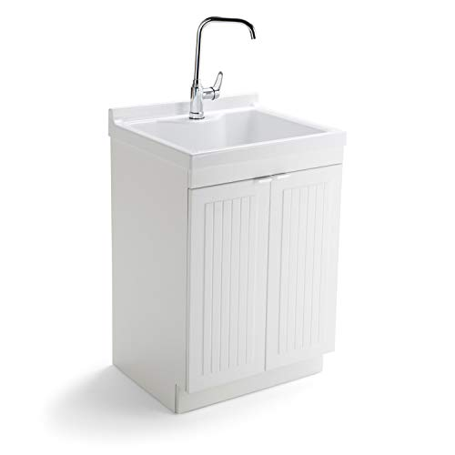 SIMPLIHOME Murphy Traditional 24 inch Laundry Cabinet with Faucet and ABS Sink