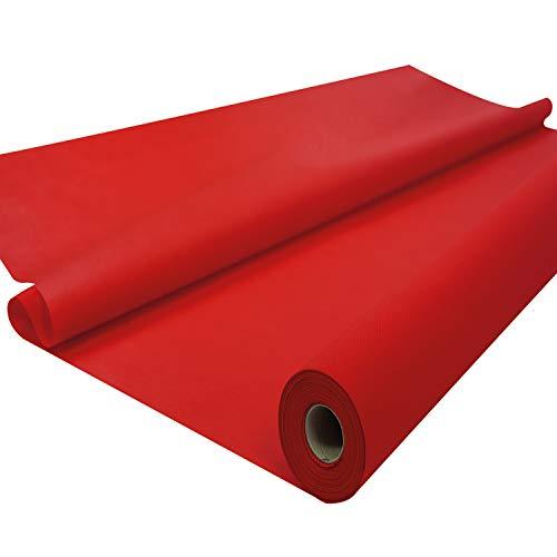 Sensalux Tischdeckenrolle, stoffähnliches Vlies, Oeko-TEX Standard 100 - Klasse I Zertifiziert, Farbe + Größe wählbar (Rot, 1,20 m x 25 m)