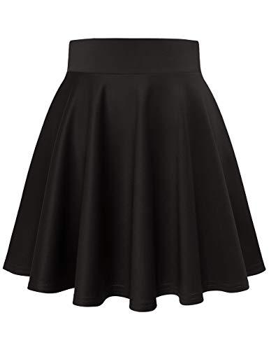 MuaDress 9001 Damen Mädchen Basic Mini Rock Solide Glocken dehnbaren informell Röcke Schwarz Mini L