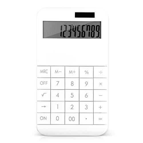 EooCoo Calcolatrice da Tavolo, Standard Calcolatrice con display LCD grande a 12 cifre, Alimentato da Batteria/Solare - Bianca