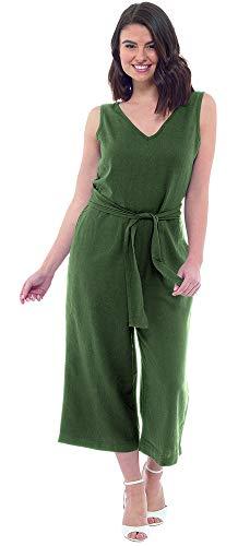 CityComfort Combi-Pantalon en Lin pour Femme | Combinaison Longue Coupe Ample avec Ceinture, sans Manches | Ensemble Bustier & Pantalon en Un, Vêtements pour Vacances (38, Kaki)