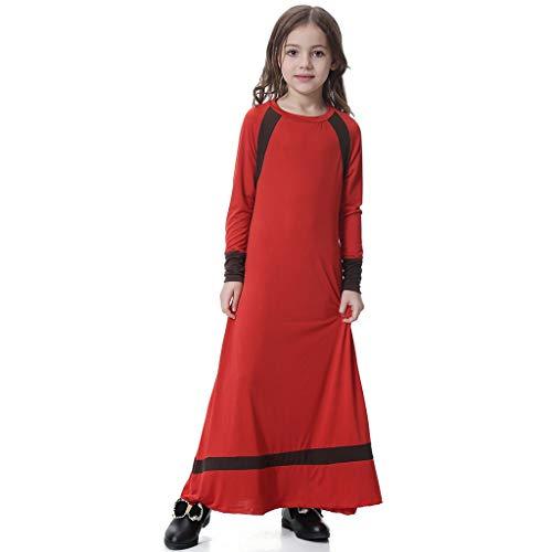 Kinder Abaya Kleider,Mädchen Abaya Muslimische Kleider,Robe-Kleid Arabische Muslime Islam Ganzkörperansicht Maxi Jersey Kleider,Gebet Kleid Nahen Traditionelle Kleidung URIBAKY