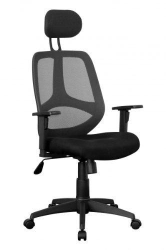 KadimaDesign Silla de Oficina Silla de Escritorio Florencia 2 Negro, una Silla giratoria de Oficina con reposabrazos y reposacabezas