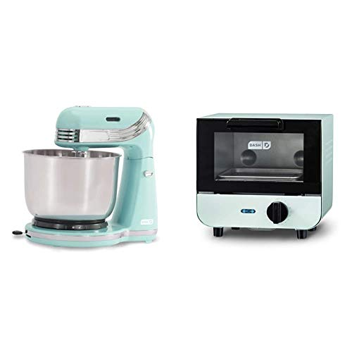Dash Stand Mixer, 3 qt Stainless Steel Mixing Bowl, Aqua & DMTO100GBAQ04 Mini Toaster Oven Cooker for Bread, Bagels, Cookies, Pizza, Paninis & More with Baking Tray, Rack, Auto Shut Off Feature, Aqua