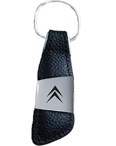 datex-bm Llavero compatible con Citroen de piel sintética para coche con logotipo grabado en la parte de metal, clásico elegante, negro para todos los modelos, hombre y mujer