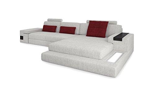 Bullhoff by Giovanni Capellini Design Sofa Couch Wohnlandschaft Stoffsofa Ecksofa L-Form Eckcouch mit LED-Licht Beleuchtung Hamburg III