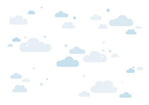 lovely label Wandsticker selbstklebend WOLKEN BLAU- Wandaufkleber Kinderzimmer/Babyzimmer mit Wolken und Sternen in versch. Farben - Wandtattoo Schlafzimmer Mädchen & Junge, Wanddeko Baby/Kinder